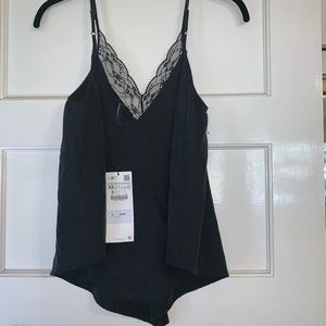 ZARA black lace blouse NEW w tags TRF collection